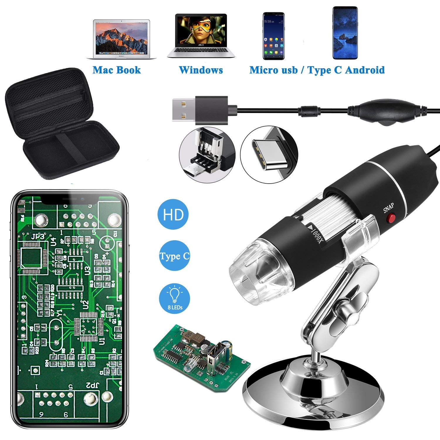 Portable Two Adapters 3 in 1 Digital Microscope 1600X Support Windows Android Phones Magnifier