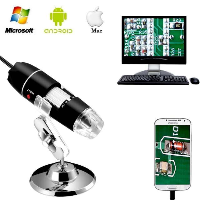 Jiusion 40 to 1000x Magnification Endoscope 8 LED USB 2.0 Digital Microscope Mini Camera with OTG Adapter Compatible with Mac...