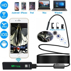 Wifi USB Digital Endoscope Semi-rigid Hard Line Cable HD 1200P for iphone Android Mac Window Camera IP68 Waterproof Cam