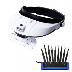Jiusion Dual Lens Head Mount Headband Illuminating Magnifier with 9pcs Precision Tweezers Set Magnifying Jeweler Loupe 5 Detachable Glasses for Readin