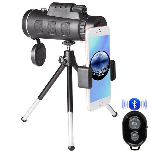 Jiusion Telescope 12X50 High Power Prism Monocular and Waterproof Fogproof Shockproof Adult Scope with Phone Clip and Bluetooth Remote Control