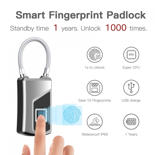 NEW Original Smart Fingerprint Padlock IP66 Waterproof Security Safe Pickproof Door Luggage Case Bag Anti-Thief Digital Lock