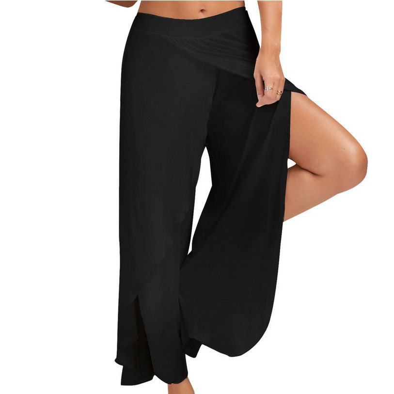 High Slit Cotton Blend Casual Wide Leg Yoga Pants