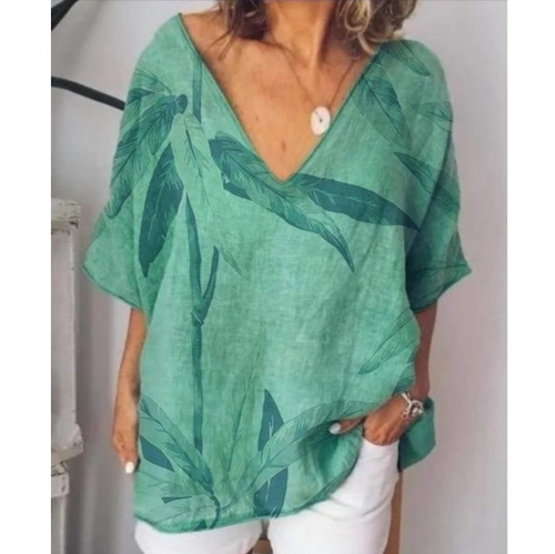 Feather Printed V Neck Casual Top