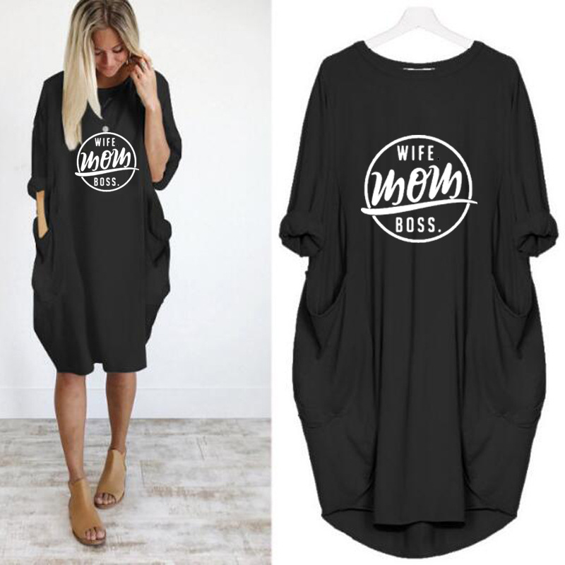 Wife Mom Boss Long Sleeve Pockets Casual Dress