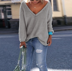 V Neck Solid Color Casual Pullover Sweater