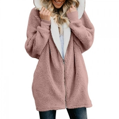 Zip Up Hooded Winter Fuzzy Coat