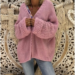 Open Front Knitted Chunky Cardigan