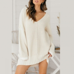 V Neck Knitted Pullover Casual Sweater Dress