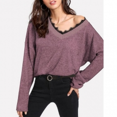 Lace Panel V Neck Pullover Sweater
